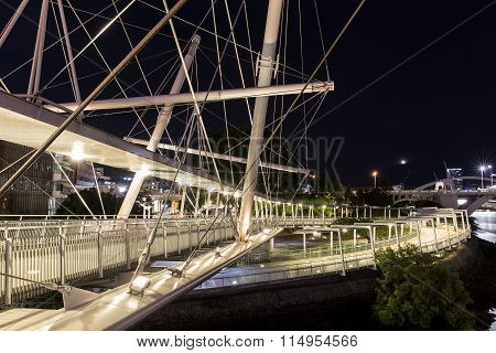 Kurilpa Bridge illuminated spiral pedestrian walkway
