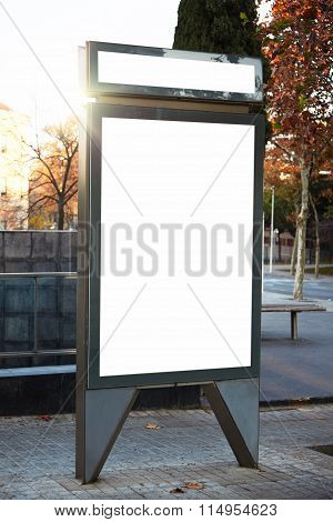 Empty lightbox on the city streets. Vertical, mockup