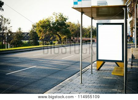 Blank lightbox on the bus stop. Horizontal