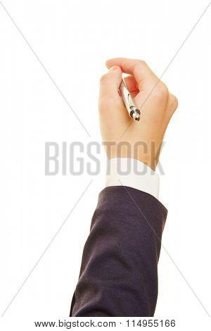 Hand of a businesswoman holding a ballpoint pen
