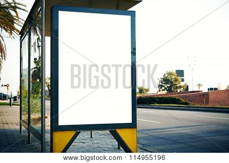 Empty lightbox on the bus stop. Horizontal mockup