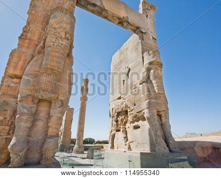 Old Statues On The Entrance Of Ruined Persepolis City, Iran.