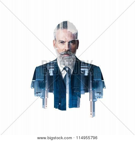 Portrait of bearded businessman. Double exposure city on the background. Square