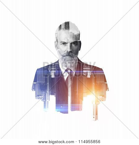 Portrait of bearded businessman. Double exposure city on the background. BW