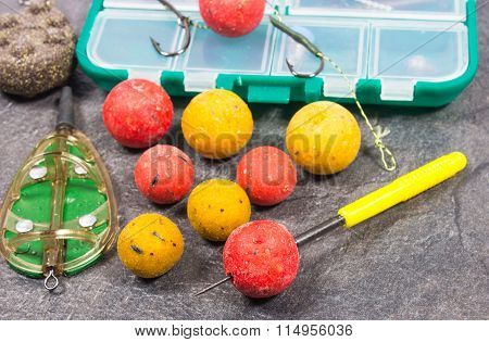 Carp Hook Boilies And Fishing Equipment - Close Up.