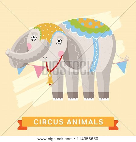 Circus Elephant, vector animal series.