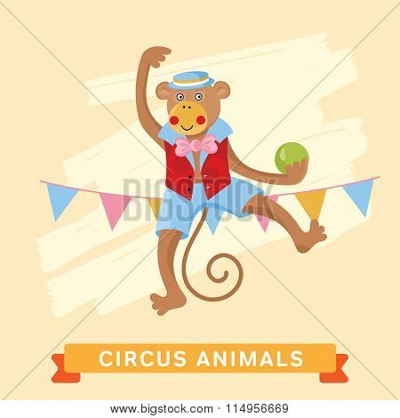Circus Monkey, vector animal series.