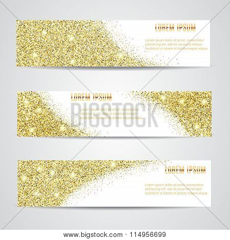 Horizontal  Gold Banners Set.