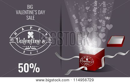 Valentines day sale lettering. Gift box and heart particle light