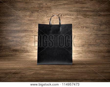Black craft shopping bag, wood background. Focus on the bag. 3d render