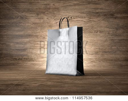 Blank craft pocket bag, wood background. Focus on the bag. 3d render