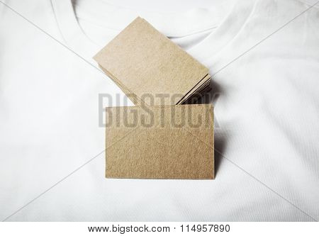 Set of blanks craft business cards on white tshirt.