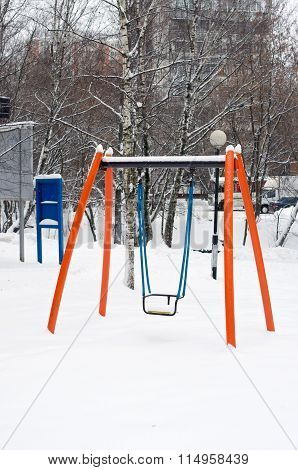 Children Orange Swing In Snow