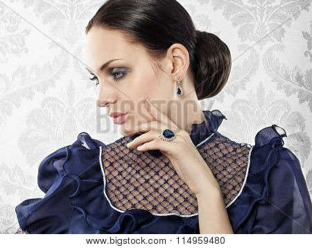 Portrait of elegant beautiful woman with jewellery