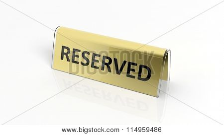 Golden glossy reservation sign, isolated on white background.