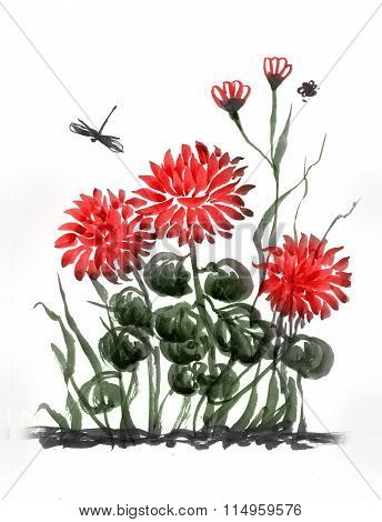 Red Chrysanthemum. Flower Composition.
