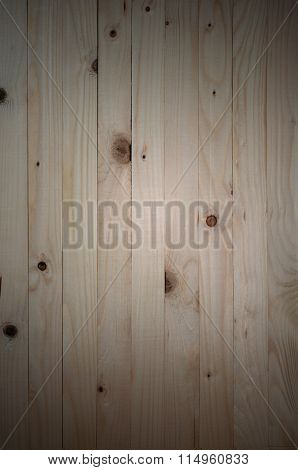 Wood Background, Pine Wood Background In Vertical Plane With Vignette.