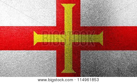 Flag of Guernsey painted on glass
