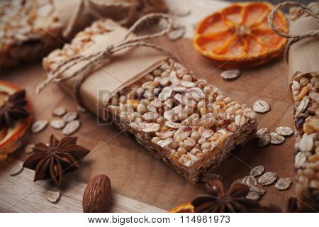 Homemade granola bars with cereals and dried fruit