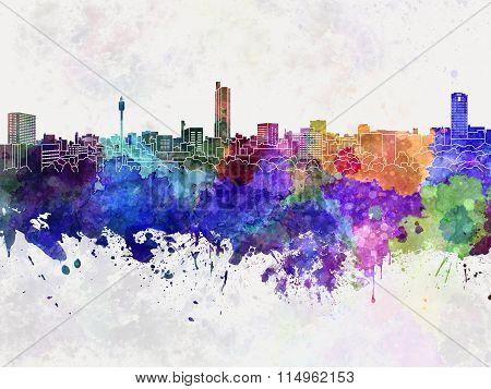 Hiroshima Skyline In Watercolor Background