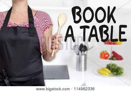 Book A Table Cook Holding Wooden Spoon Concept