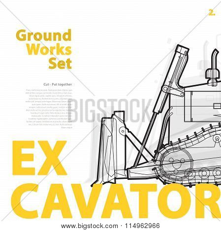 Yellow and orange typography set of ground works machine vehicle.