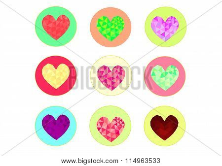 Low poly style heart icon  vector, heart  low poly design,low poly style illustration,Heart valentin