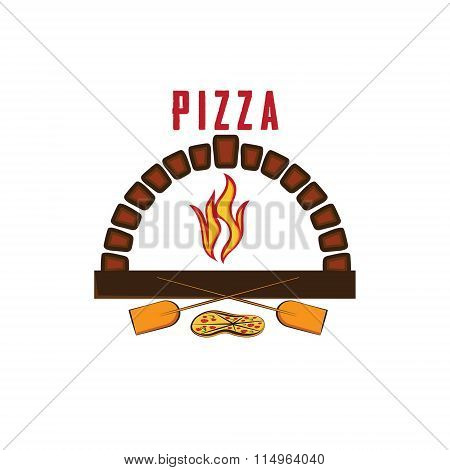 Illustration Of Oven With Pizza