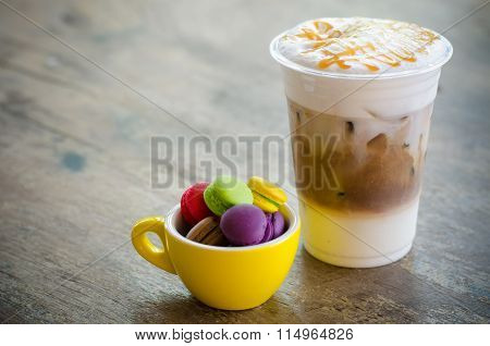 Ice Macchiato Coffee And Macaroons In Cup