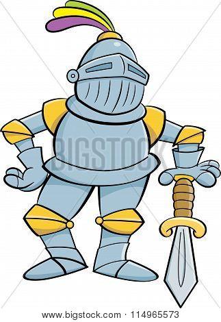 Cartoon knight leaning on a sword.