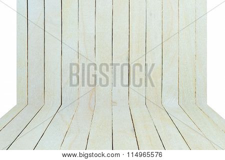 Empty Top View Of Wooden Table Or Counter Isolated On White Background.