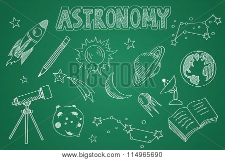 Hand drawn Astronomy set. Chalk on the blackboard