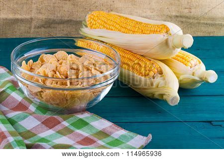 Heads of cabbage of corn and corn flakes