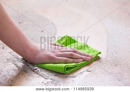 Wiping Dirty Floor