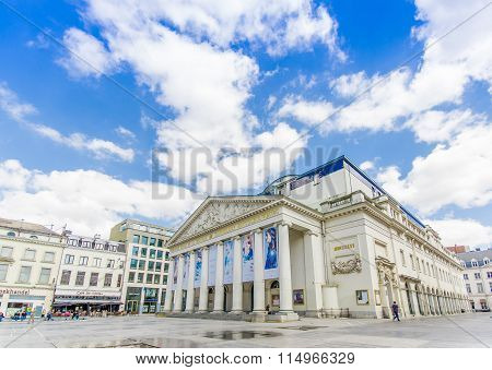 BRUSSELS, BELGIUM - 11 AUGUST, 2015: Spectacular facade of the Theatre Royal La Monnaie De Munt with