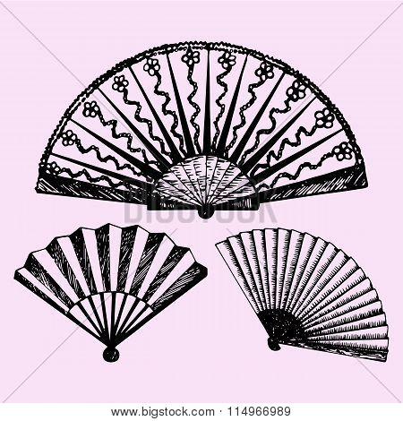 set of folding fan