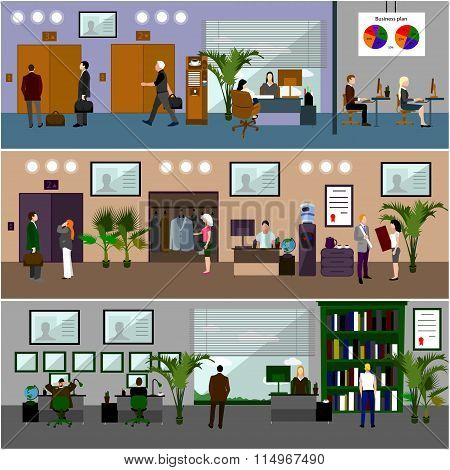 Flat design of business people or office workers. Business presentation and meeting. Office interior