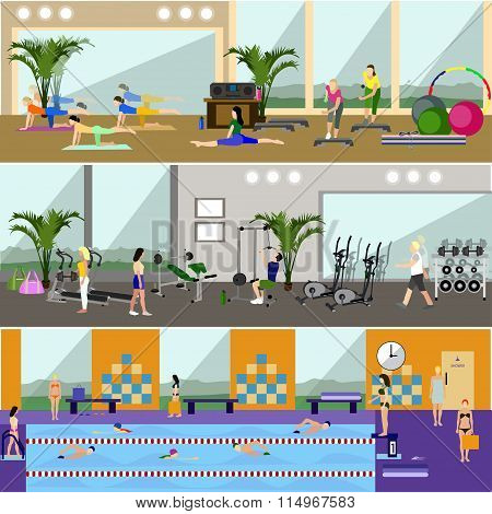 Horizontal vector banners with gym interiors. Sport activities concept. Yoga, fitness, swimming pool