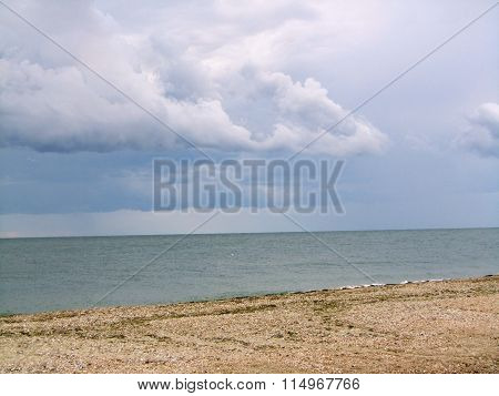steppe morning on the beach in summer