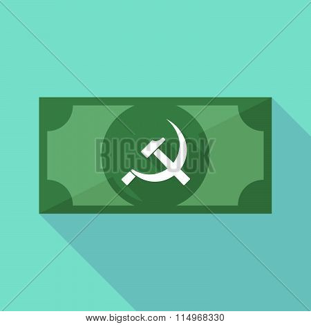 Long Shadow Banknote Icon With  The Communist Symbol