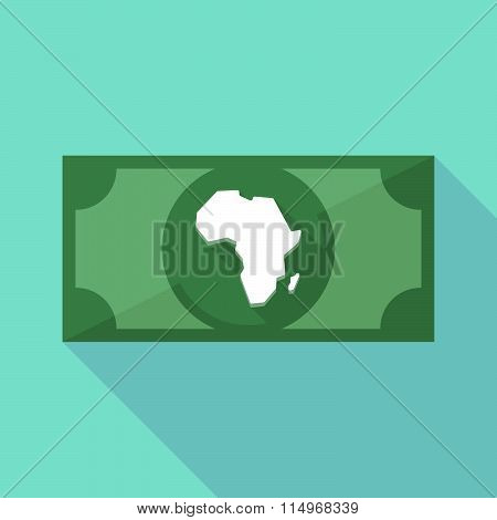 Long Shadow Banknote Icon With  A Map Of The African Continent
