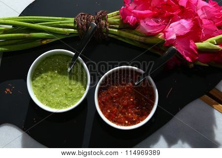 From the kitchen: Green and Red Salsa