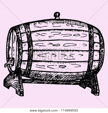wooden whiskey, beer, rum, wine barrel with tap