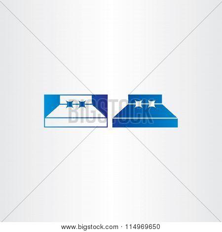 Blue Bedroom Bed Vector Icon
