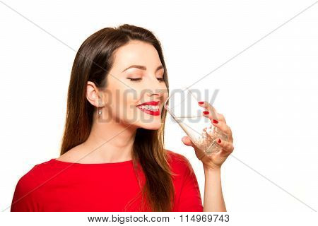 Beautiful Girl Drinking A Glass Of Pure Water Smiling Holding