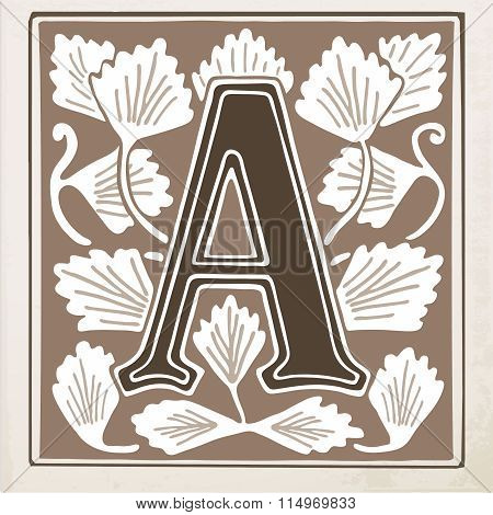 letter A with leaves and frame