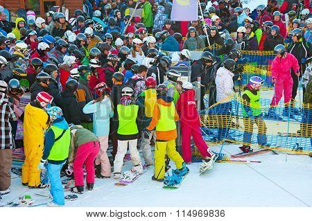 Queue At Ski Resort