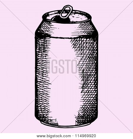 opened aluminum can for beer, carbonated drink