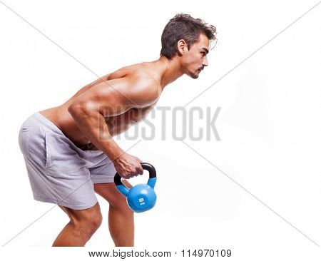 Fitness man doing exercise with dumbbell, isolated over white background