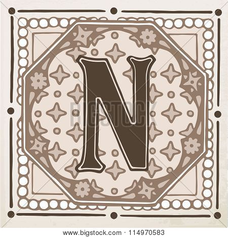 letter N with leaves and frame